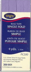 Wright's Bias Tape Packaged Single Fold 13mm x 3.7m Lavender 051