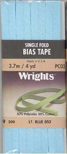 Wright's Bias Tape Packaged Single Fold 13mm x 3.7m Light Blue 057