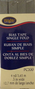 Wright's Bias Tape Packaged Single Fold 13mm x 3.7m Light Grey 045