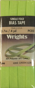 Wright's Bias Tape Packaged Single Fold 13mm x 3.7m Lime Green 628