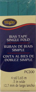 Wright's Bias Tape Packaged Single Fold 13mm x 3.7m Mediterranean 1242