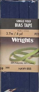 Wright's Bias Tape Packaged Single Fold 13mm x 3.7m Navy 055