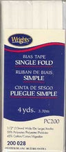Wright's Bias Tape Packaged Single Fold 13mm x 3.7m Oyster 028