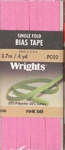 Wright's Bias Tape Packaged Single Fold 13mm x 3.7m Pink 061