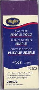 Wright's Bias Tape Packaged Single Fold 13mm x 3.7m Plum 572