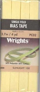 Wright's Bias Tape Packaged Single Fold 13mm x 3.7m Sunlight 100
