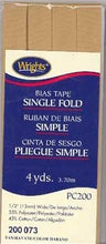 Wright's Bias Tape Packaged Single Fold 13mm x 3.7m Tan 073