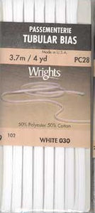Wright's Bias Tape Packaged Single Fold 13mm x 3.7m White 030