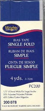 Wright's Bias Tape Packaged Single Fold 13mm x 3.7m Yale Blue 078
