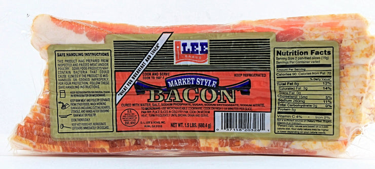 00734 - Lee Derind Market Style Smoked Bacon 20/1.5#