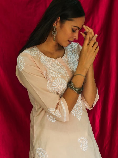 Cotton Lucknavi Chikankari Kurta Camio Rose
