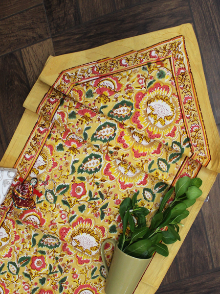 White and Yellow Floral Print Cotton Reversible Table Runner