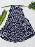 Blue Hand Block Printed Cotton Girls Frock