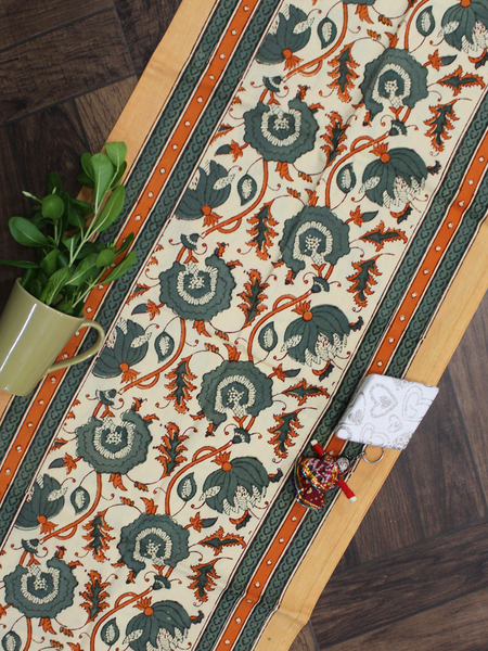Yellow Floral Jaal Cotton Table Runner