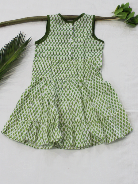 Green Hand Block Printed Cotton Girls Frock