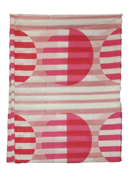 Pure Cotton White And Pink Color Screen Printed Fabric.