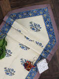 Beige and Blue Floral Print Cotton Reversible Table Runner