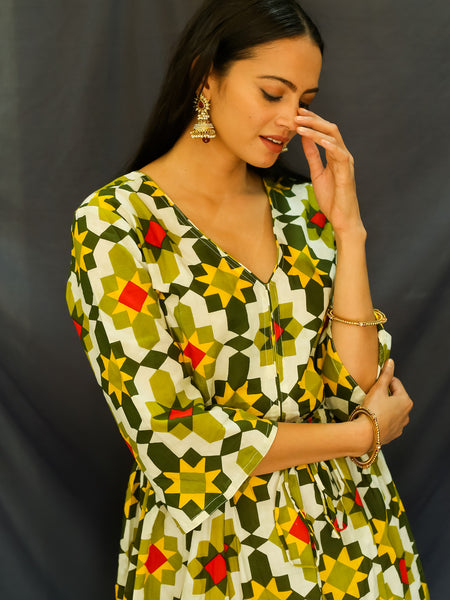 Cotton Women Sundress Green Ikat 3190