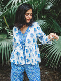 Cotton Lotus Floral Jaal Dungarees and Jacket set Blue
