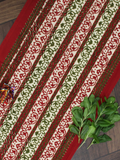 Maroon and Orange Floral Print Cotton Reversible Table Runner