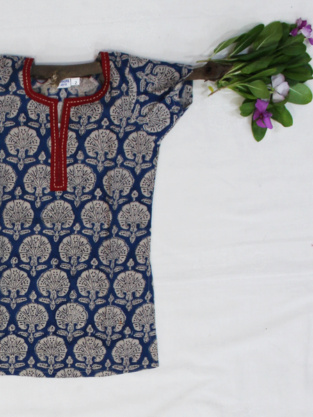 Blue Hand Block Printed Straight Cotton Girls Kurti
