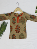 Beige Hand Block Printed Straight Cotton Girls Kurti