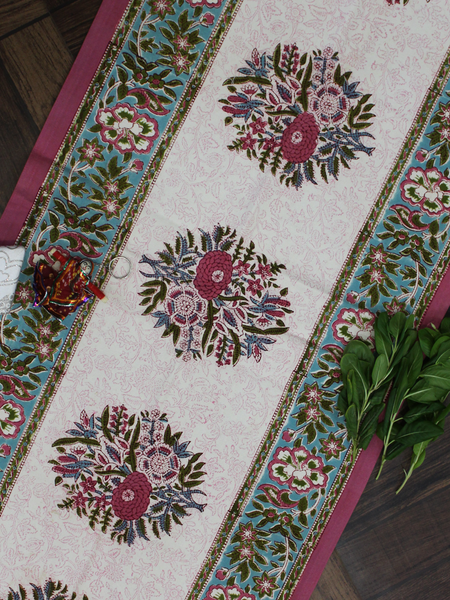 Ivory Floral Butta Canvas Table Runner