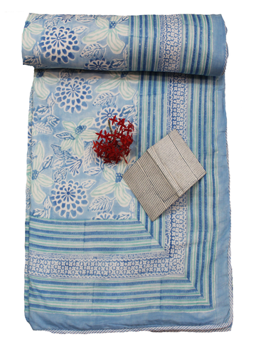 Elegance Blue and White Hand Block Print 100% Cotton Dohar