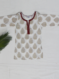 White Hand Block Printed Straight Cotton Girls Kurti