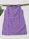 Purple Gold Print Straight Cotton Girls Kurti
