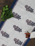 Blue and White Floral Print Cotton Reversible Table Runner