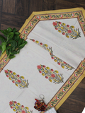 Ivory and Yellow Floral Print Cotton Reversible Table Runner
