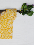 Yellow Hand Block Printed Straight Cotton Girls Kurti