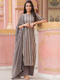 Cotton Stripes Kurta Palazzo Dupatta Set Beige