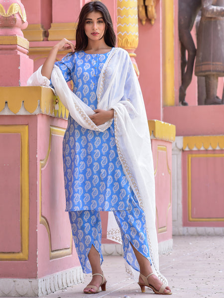 Cotton Blue Paisley Kurta Dhoti Set