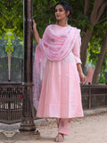 Cotton Plain Dye Anarkali Kurta Set Pink
