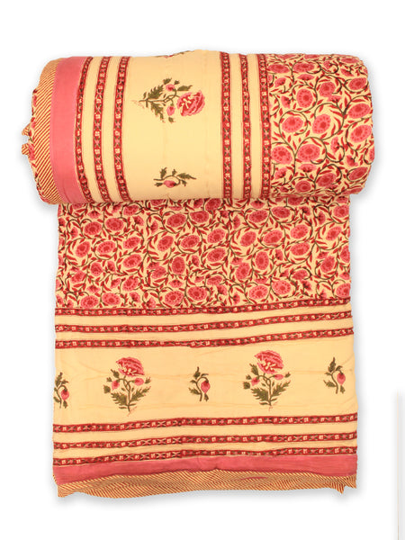 Quilt Floral Jaal Mughal Boota Pink
