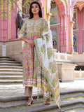 Cotton Sage Green Booti Jaal Anarkali Kurta Bottom and Dupatta Set