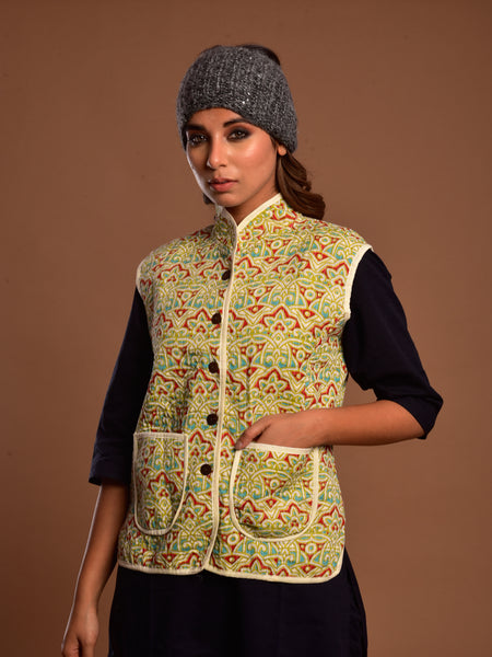 Cotton Quilted Jacket Natural Geo