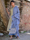 Cotton Mushroom Grey Booti Kurta Dupatta Pants Set