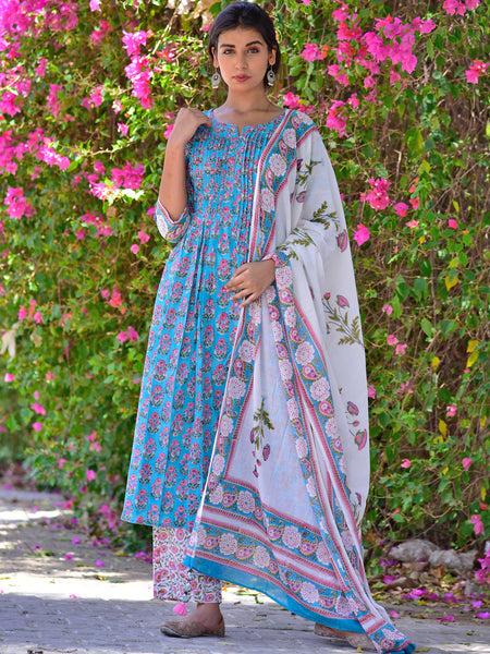 Cotton Shell Tuck Firozi Booti Kurta Dupatta Pants Set