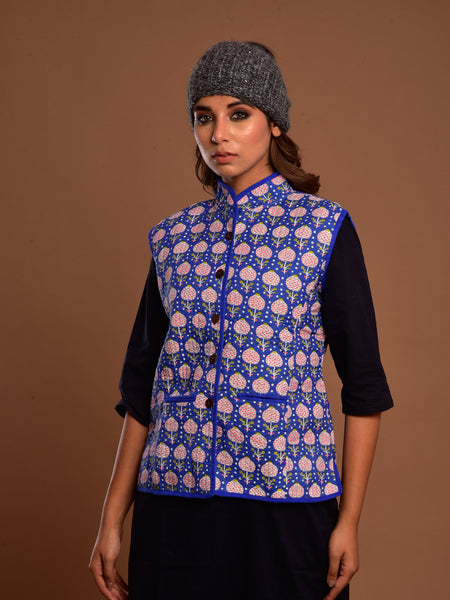 Cotton Quilted Jacket Blue Booti