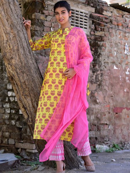 Cotton Blind Tuck Kurta Yellow Boota Set