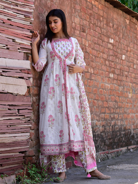 Cotton Double Layer Jacket Kurta Set Pink Boota