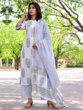 Cotton Blue Mughal boota Kurta Dupatta Pants Set