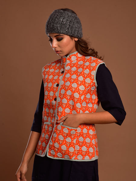 Cotton Quilted Jacket Orange Booti