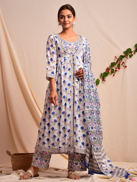 Cotton Overlay Jacket Inner Suit Set Blue Fleur