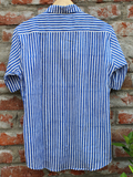 Men Shirt Blue and White Stripes.