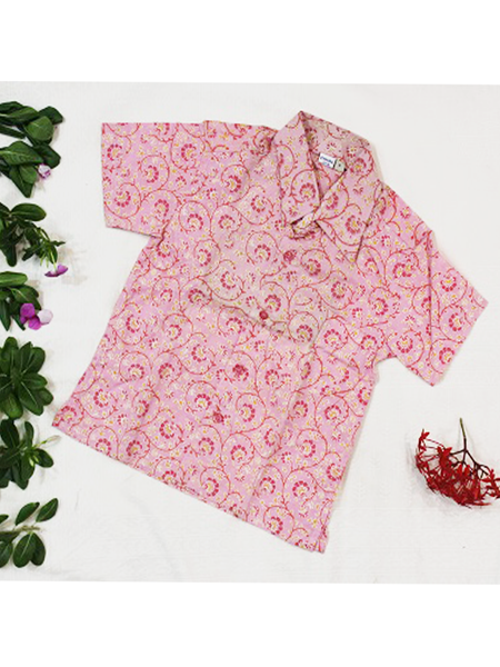 Pink Floral Jaal Screen Printed Shirt