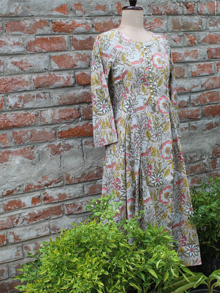 Beige Color Cotton Floral Jaal Kurta